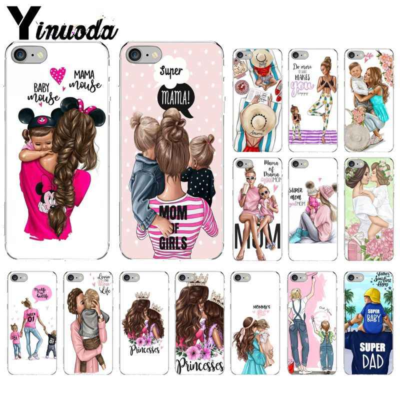 Yinuoda Black Brown Hair Baby Mom Girl Queen Transparent TPU Soft Phone Cover for iPhone 5 5Sx 6 7 7plus 8 8Plus X XS MAX XR