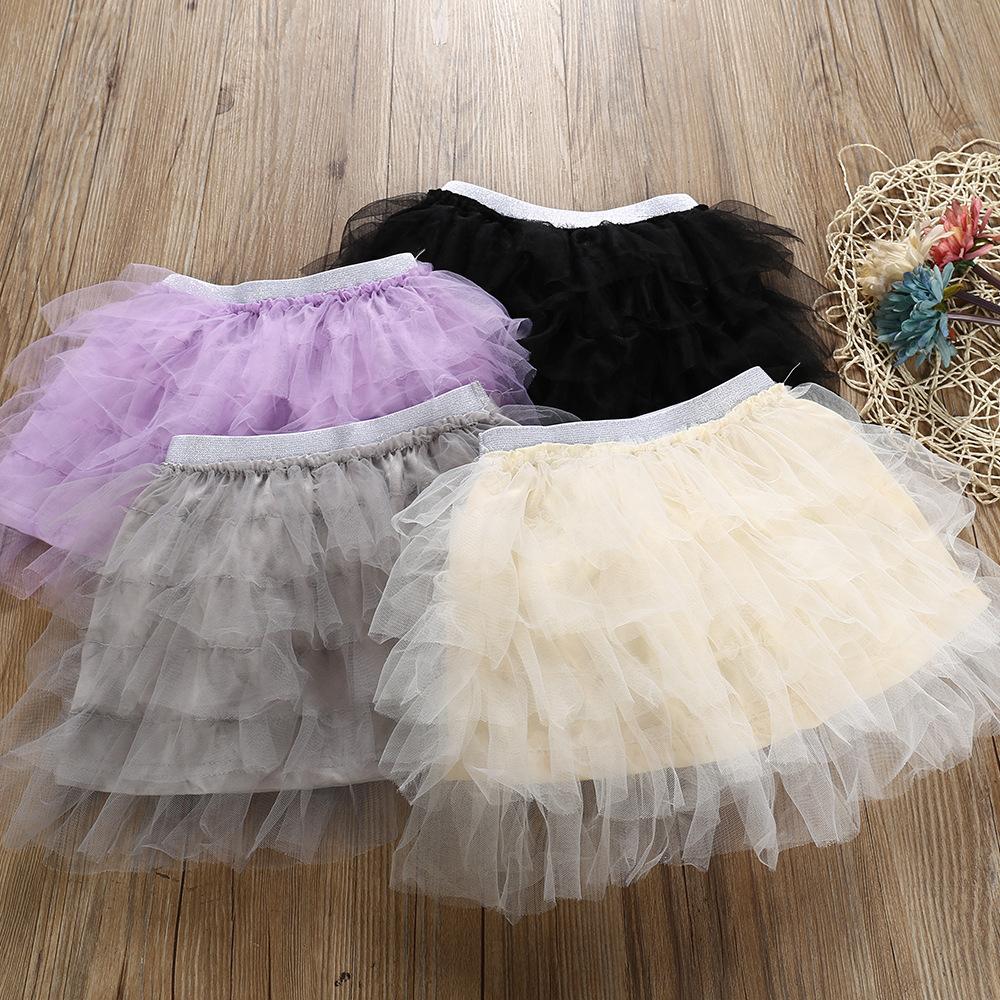 Fashion Baby Kids Girls Princess Solid Party Dance Ballet Tutu Skirts Tule Tiered Skirt Girls Children Skirt