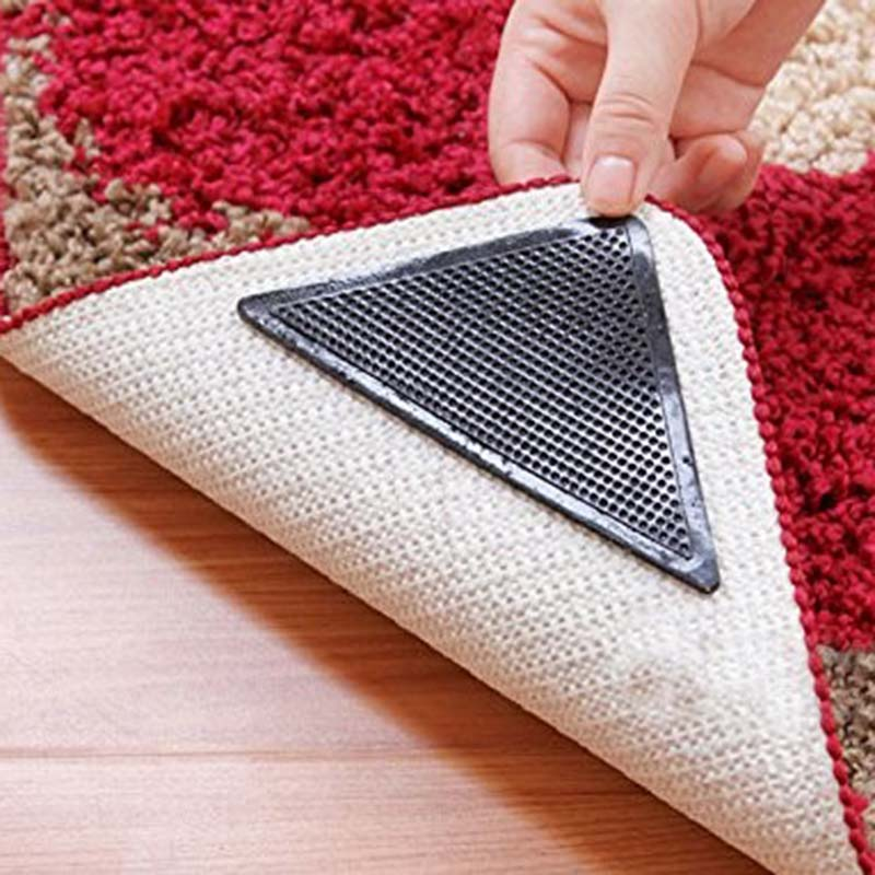 4pcs/lot 15*7.5cm Reusable Anti-skid Rubber Floor Tidy Carpet Mat Washable Rug Gripper Stopper Tape Sticker Black Corners Pad