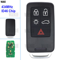 WALKLEE Remote Smart Key fit for Volvo XC60 S60 S60L V40 V60 S80 XC70 434Mhz with ID46 Chip 5 Buttons
