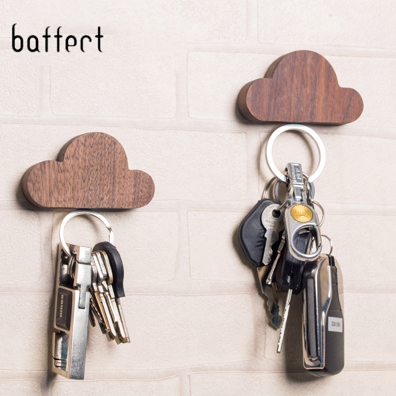 Kit Magnetic Key Hook Wall Hangers Lovely Cloud Shape Holders Home Decoration Made Up Of Walnut And Beech Key Hooks Christmas