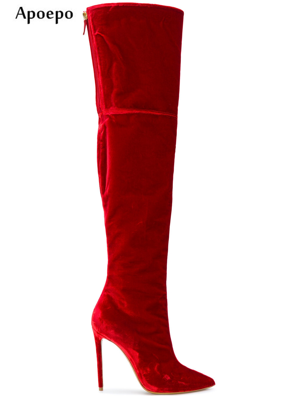 Apoepo 2018 New Fasion Velevet High Heel Boots Sexy Pointed Toe Over the Knee Woman Boots Thin heels thigh high boot riding boot choudory 2017 runway denim blue over the knee boots sexy open toe high heel boots woman thigh high boots thin heels jeans boots