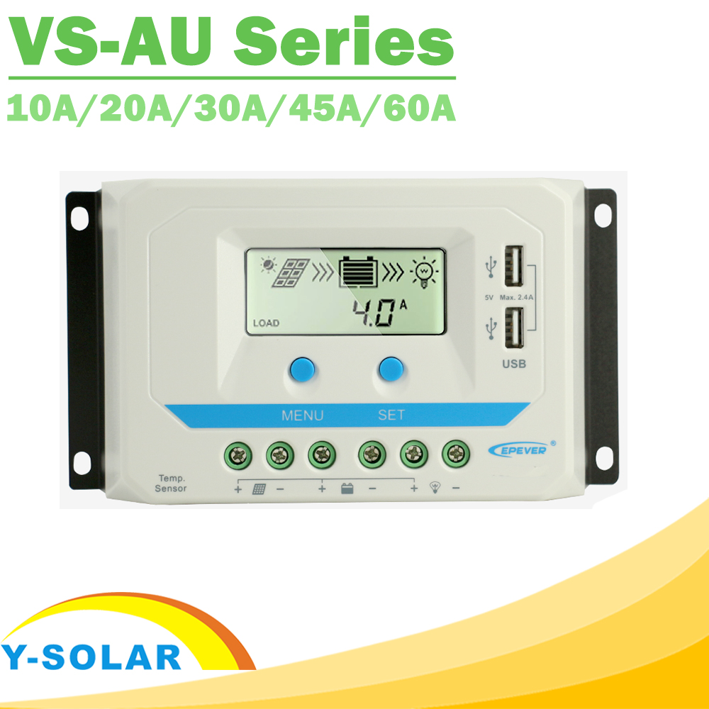 EPever PWM 10A/20A/30A/45A/60A de Charge Solaire Contrôleur VS-AU Série Rétro-Éclairage LCD Double USB PV Chargeur Régulateur pour Solaire Maison