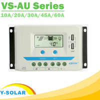 EPever PWM 10A/20A/30A/45A/60A Solar Charge Controller VS AU Series Backlight LCD Dual USB PV Charger Regulator for Solar Home