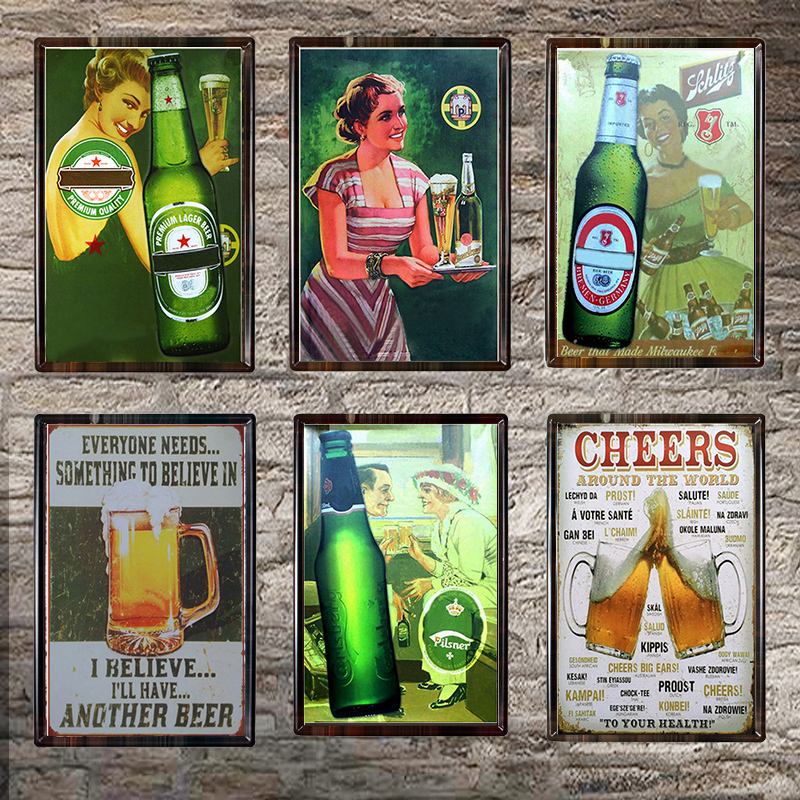 Beer Vintage Metal Tin Sign Chic Home Bar Cafe Vintage Wall Decor Art Metal Tin Signs Pub Tavern Retro Decorative Plates
