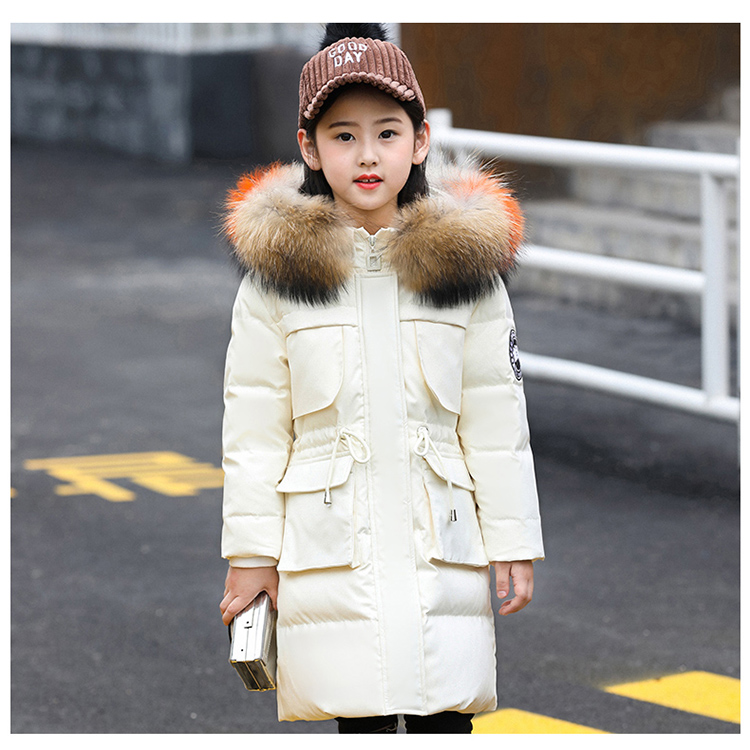 2018 New down coat for girls winter long white duck down family jacket size 110-160 color pink black white red 2018 New down coat for girls winter long white duck down family jacket size 110-160 color pink black white red