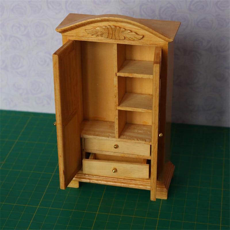 Doub K 1:12 miniature dollhouse furniture toy pretend play toys for girls children wooden wardrobe cabinet dolls house furniture