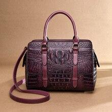 Новые женские сумки из натуральной кожи с узором «крокодиловая кожа», женские сумки через плечо, винтажные модные сумки с верхней ручкой, сумки через плечо