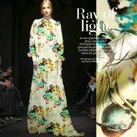 jenny silk double printing silk fabric silk cloth LB Stretch Satin cheongsam clothing material [green] Holland
