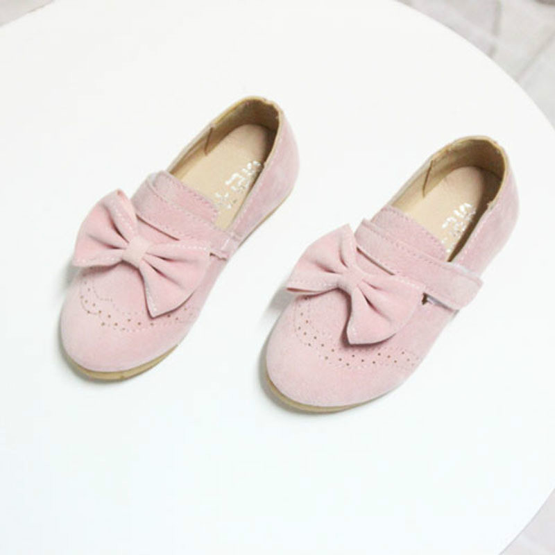 2017 Spring Autumn Girls Moccasins Princess Shoes with Bow Soft Sole Casual Girl Dancing Shoes Big