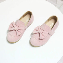2017 Spring Autumn Girls Moccasins Princess Shoes with Bow Soft Sole Casual Girl Dancing Shoes Big Bowtie Loafers Slip on 26-30