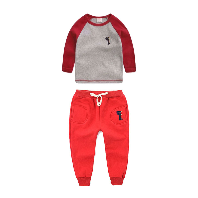 Primavera Otoño Niños Ropa Set Boys Girls Dinasour t-shirt + Pants Del Bebé Ropa