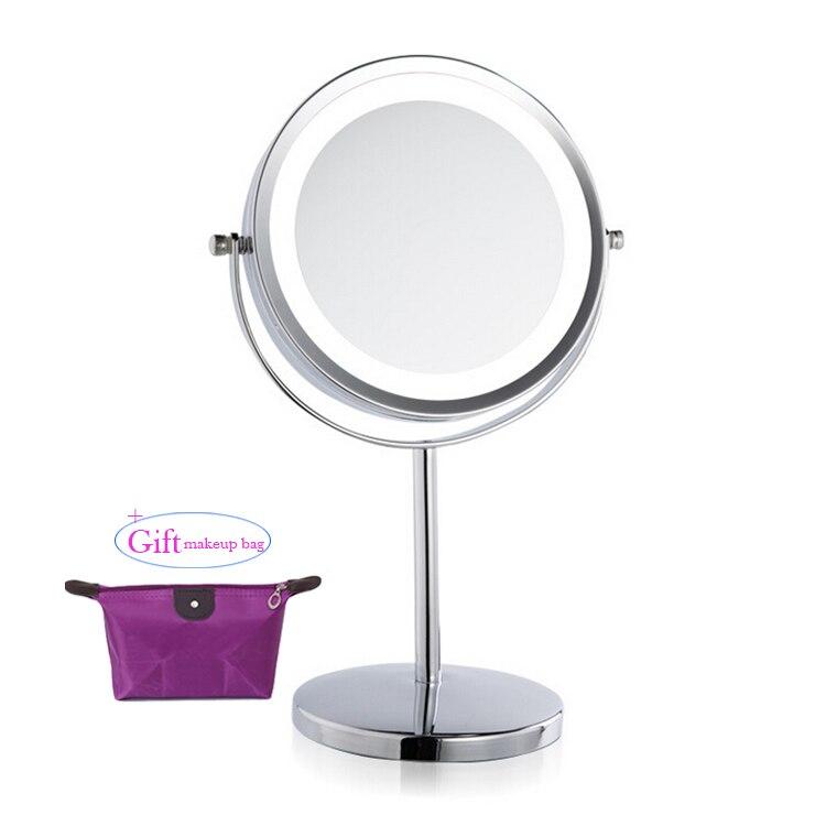 7 tommer 3x forstørrelse cirkulær ledet makeup spejl dobbelt 2-sidet rund form kosmetisk spejl stativ spejl til make up for gave