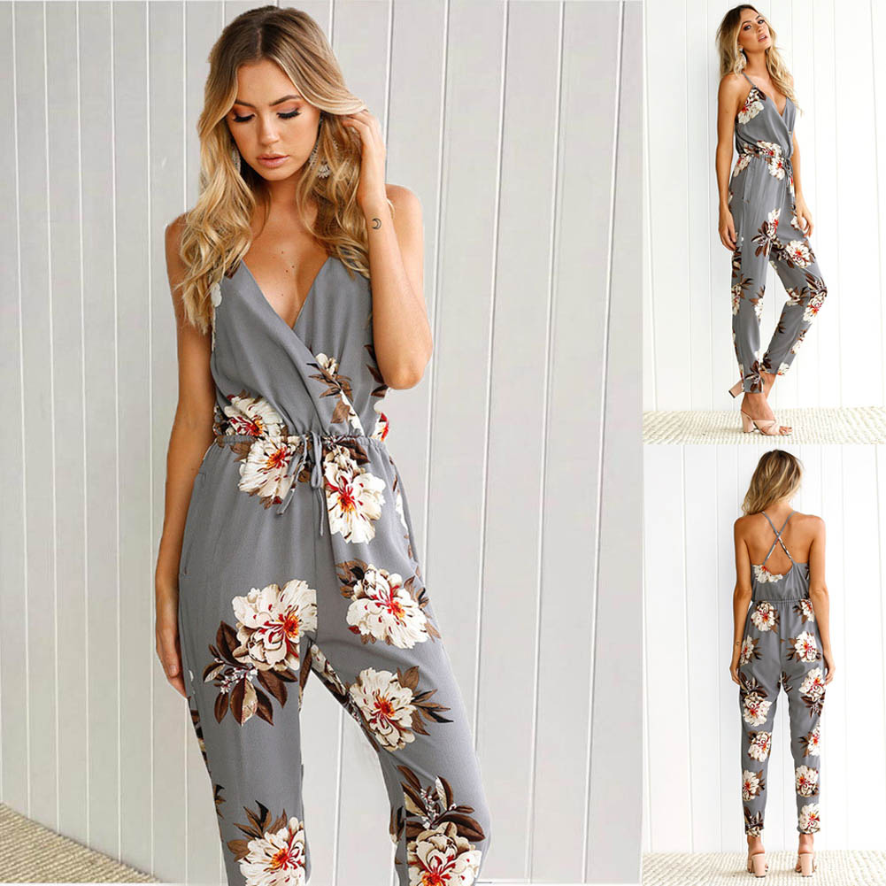 Fashion Summer Women Romper Sexy Deep V Floral Printed Strap Crossed Sleeveless Backless Lady Girl Casual Long Jumpsuit