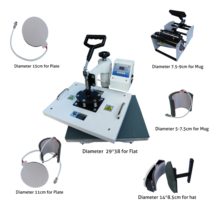 Advanced New Design 6 IN 1 Sublimation Machine,Digital Tshirt Printing Machine, Heat Press / Heat Transfer,Mug Printer Machine new design single display 7 in 1 heat press machine mug cap plate tshirt heat press sublimation machine heat transfer machine