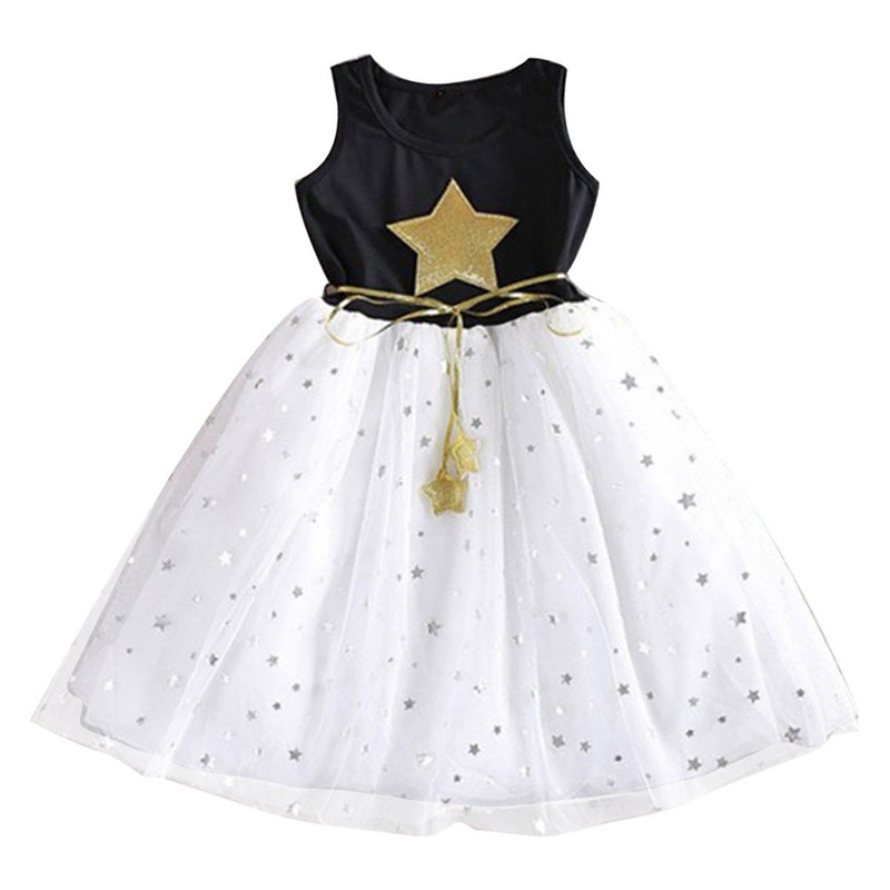 Girls Summer Dress 2017 Mesh Children Kids Clothing White Black Sleeveless Vestidos Mujer Pentagram Star Party Dresses D30 мыльные пузыри paddle bubble с набором ракеток 60 мл