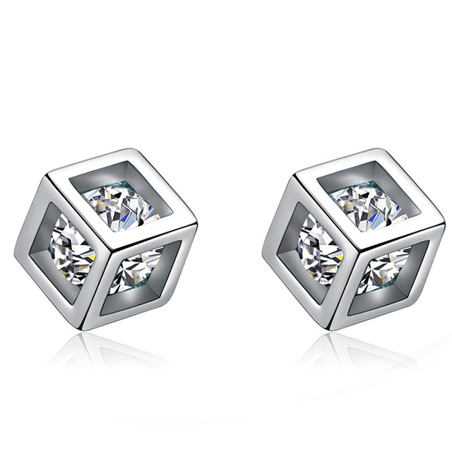 Crystals Cube Stud Earrings Silver Cubic Zirconia Bijoux Charm Square For Women