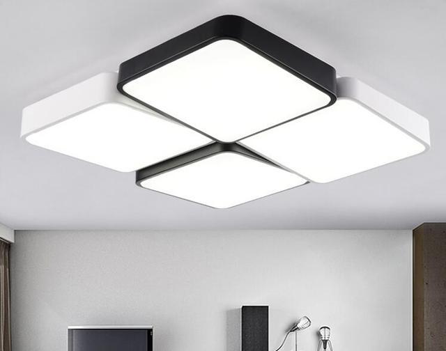 Woonkamer Lampen Modern : Designer moderne metalen led plafond verlichting wit zwart vierkante
