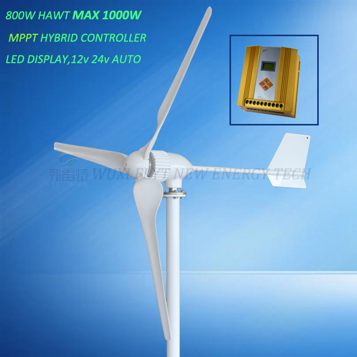 800w wind turbine generator MAX power 1000w big blades of 2.2m wind wheel dimeter with MPPT 12V/24V AUTO hybrid controller free shipping 600w wind grid tie inverter with lcd data for 12v 24v ac wind turbine 90 260vac no need controller and battery