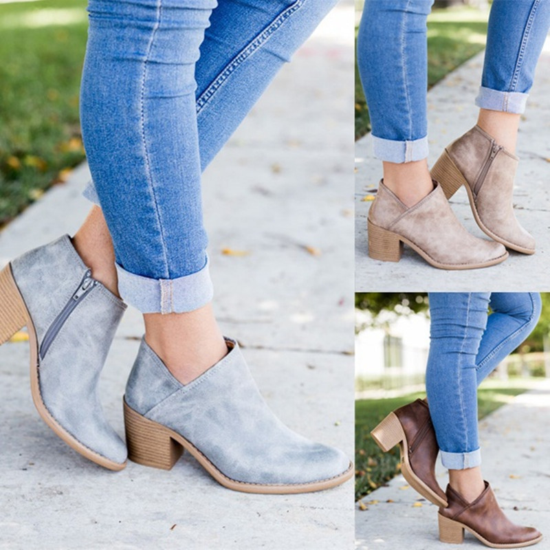 Women ankle boots 2018 spring autumn women shoes fashion zipper square heel women leather boots botas de mujer in Ankle Boots from Shoes