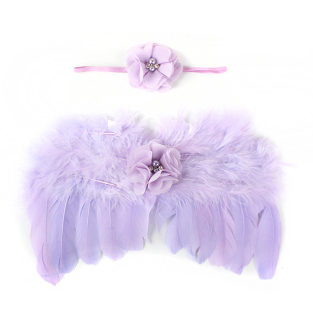 Lovely Baby Newborn Photography Props Infant Girls White Angel Feather Wings Wing Set Costume + Headbands Kids Outfit Photo Prop Baby & Kids
