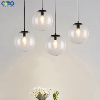 Glas Anhänger Lampe E27 Parlor/Esszimmer/Schlafzimmer Moderne Beleuchtung Vintage Schnur Anhänger Lichter LED Transparent Glas Ball