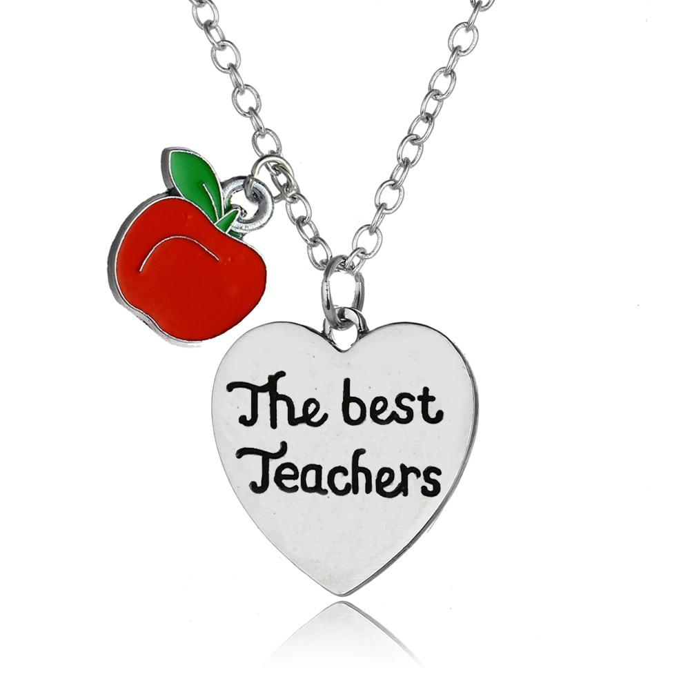 Teachers Appreciation Gifts Apple Love Heart Pendant The Best Teachers Necklaces Teacher Jewelry School Teachers Day Presents