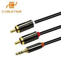 Cabletime 2RCA To 3 5mm Jack Cable Male To Male 1 8M 5 9ft Gold Plated