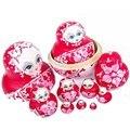 10 Pçs/set Madeira Bonecas Do Assentamento Russo Menina Trança Tradicional Juguetes bonecas Matryoshka Dolls 10 Camadas Set Boneca