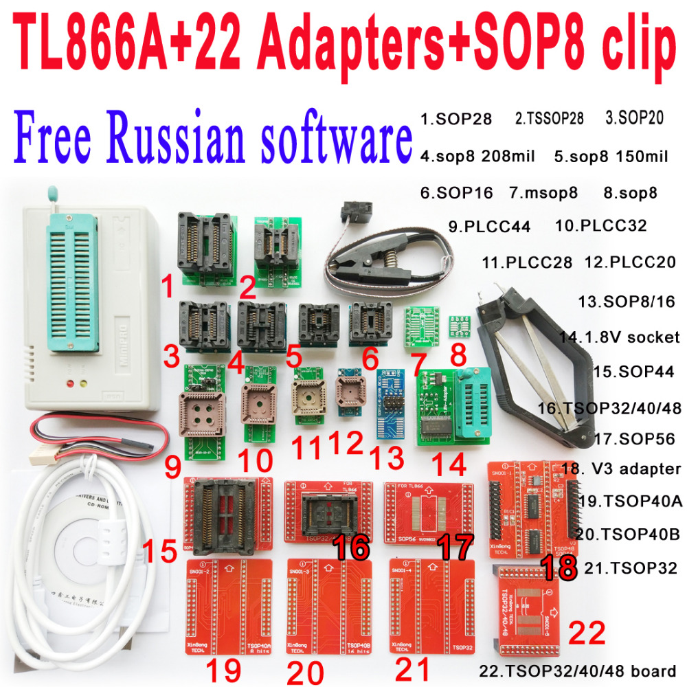 Free Russian software Original Minipro TL866A programmer 22 adapter socket SOP8 Clip IC clamp Bios Flash