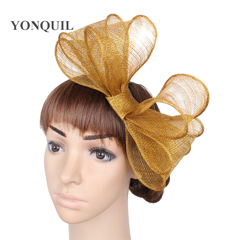 Gold Bowknot Fedora Sinamay Fascinator Church Hat Bridal Headpiece For Wedding Kentucky Derby Ascot Races High Quality OF1519