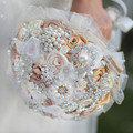 Ivory Champagne brooch bouquet Bridal crystal Wedding Bouquet custom made Cloth creation Fabric Bride 's bouquets