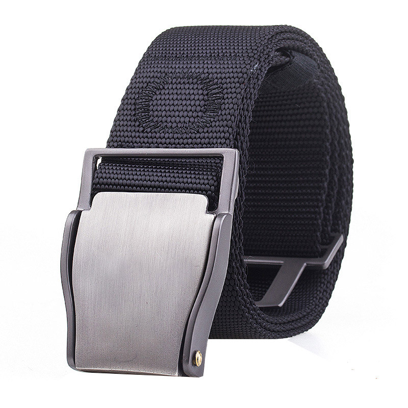 2019 New Safety Alloy Insert Buckle Canvas Belt High Quality Weaving Nylon Men Belt Solid Color Casual Men And Women Cowboy Belt