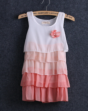 2016 fashion Summer loose sleeveless Kids Girls Princess Flower Chiffon Dress