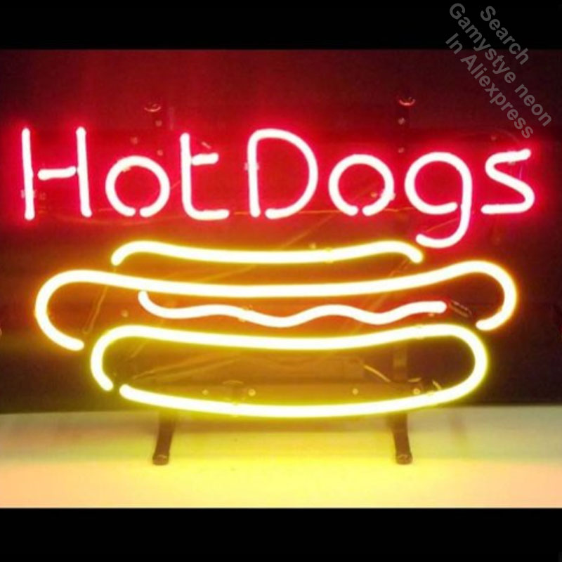 17x14 Hot Dogs Neon Sign Handmade Real Glass Tube Quality Guarantee Handcraft neon lights vintage Lamps neon open sign bar