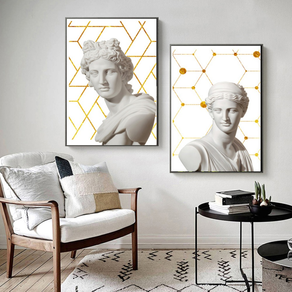 Vintage posters greek sage marble sculpture posters and prints modern canvas art oil painting wall picture for bedroom decor