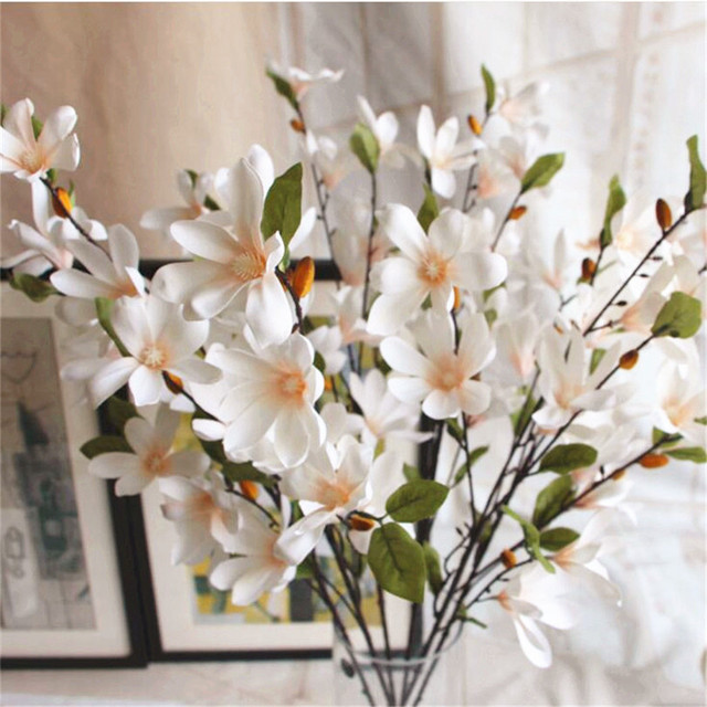 6pcs artificial magnolia flower spring series floor mounted magnolia 6pcs artificial magnolia flower spring series floor mounted magnolia bunch for wedding centerpieces decorative flower mightylinksfo