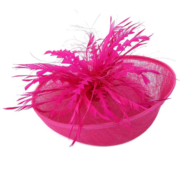 Las Large Hot Pink Feather Sinamay Hats Women Hair Accessories Fancy Fascinators For Wedding Party And