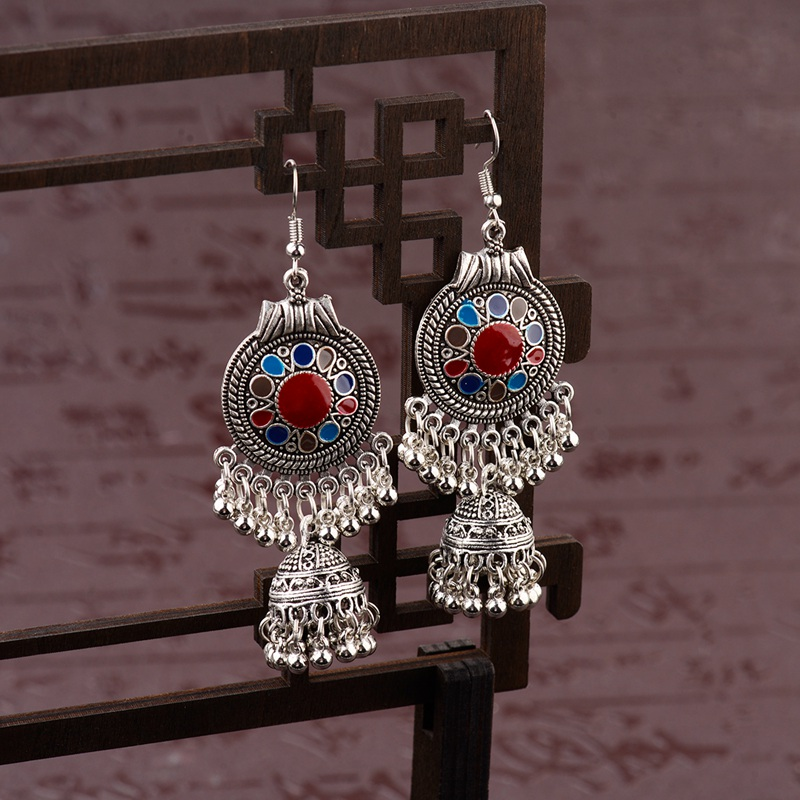 Tophanqi Indian Jhumka Jewelry Antique Ethnic Essential Oil Dangle Earrings For Women Sliver Color Fringed Tassel Drop Earring 100% High Quality Materials Earrings