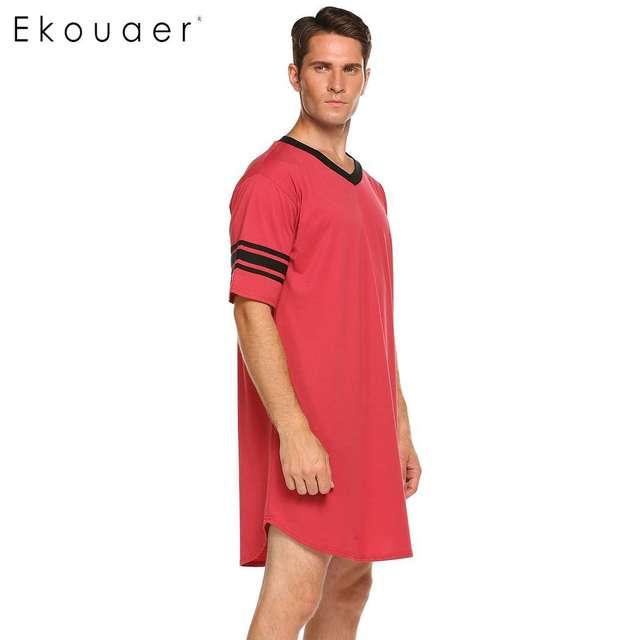 Ekouaer Men Sleepwear Long Nightshirt Short Sleeve Nightwear Night Shirt Soft Comfortable Loose Sleep Shirt Male Home Clothing