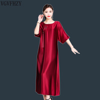 Summer Dress Women 2019 Loose National Style Long Dress Silk Elegant Solid color Casual Short Sleeve Dresses Vestidos
