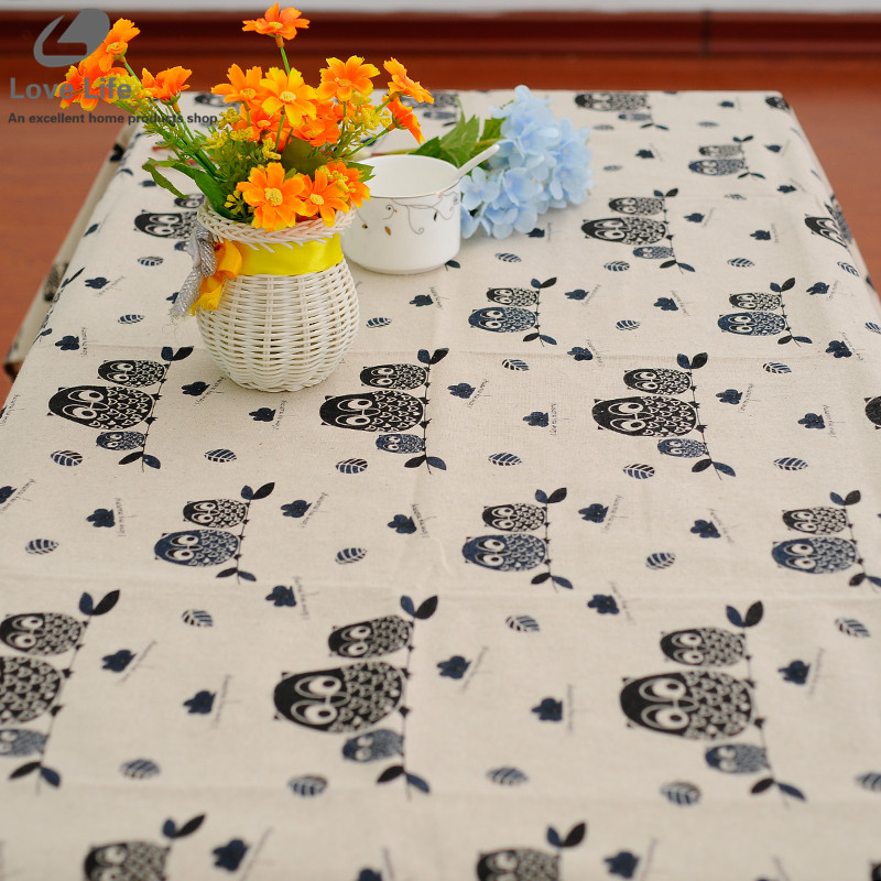 2016 Cotton Linen Lace Tablecloth Owl Pattern Table Cloths Manteles Cloth Dining