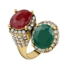 Vintage Rings For Women Color Ancient Gold Mosaic Red Resin Surround White Crystal Anillo