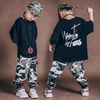 Garçons Hip Hop vêtements ensemble été enfants Streetwear vêtements à manches courtes hauts et Camouflage pantalons 2 pièces Sport costume lâche T-shirts