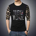 2017 New Arrival Fashion Men T Shirt Long Sleeve tshirt Camouflage Sleeve Round Collar Tops New York Shiny Printing Mens T-Shirt