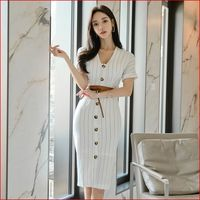 Women Fashion Summer Stripe lace up Short Sleeve Bodycon Office Lady Elegant Midi Dress whit belt