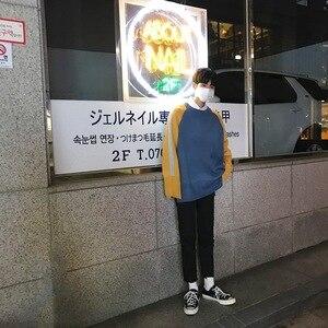 Image 3 - 2018 корейский стиль Новая мужская мода Сращивание Цвет Свободные повседневные пальто синий/хаки шерстяной пуловер Повседневный кашемировый свитер размер M XL