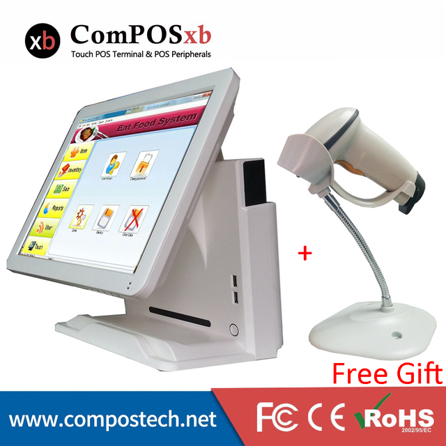 New Price Freeshipping Convenience Store J1900 15 Inch Pos Machine With White Free Laser Barcode Scanner