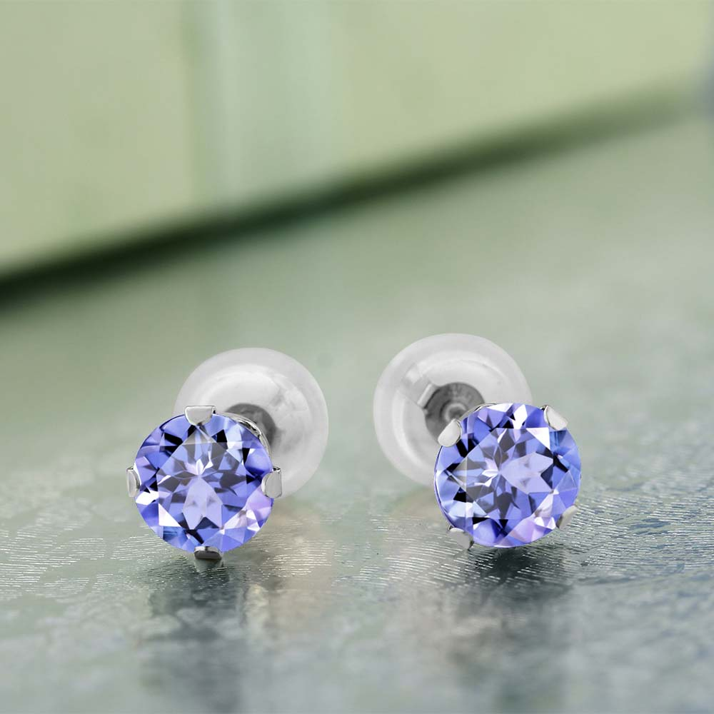 dbf1f3c292cfd Aliexpress.com : Buy GemStoneKing 1.00 Ct Round Cut Natural Tanzanite Stud  Earrings Solid 14K White Gold Engagement Earrings For Women from Reliable  ...