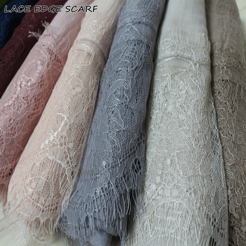 Luxury Lace edges solid scarf new design plain embriodery shawl cotton viscose muslim scarves hijabs fashion scarf Eid gifts